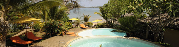 Beautifful gardens of Vanila Hotel lead down to lovely quiet beaches of Nosy Be